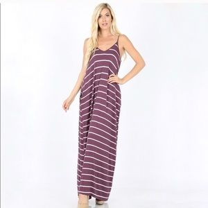 🛍 Eggplant Striped Maxi with …